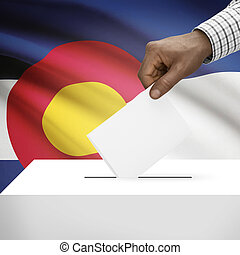 Ballot box with US state flag on background series - Colorado