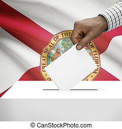 Ballot box with US state flag on background series - Florida...