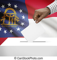 Ballot box with US state flag on background series - Georgia...