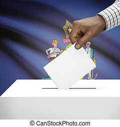 Ballot box with US state flag on background series - Maine -...