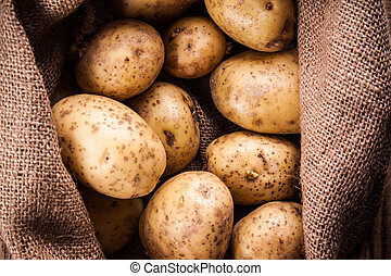 Harvest potatoes in burlap sack on wooden background