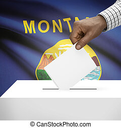 Ballot box with US state flag on background series - Montana...