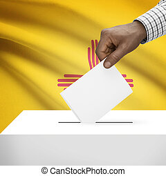 Ballot box with US state flag on background series - New...