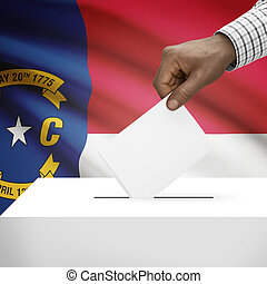 Ballot box with US state flag on background series - North...