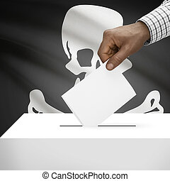 Ballot box with flag on background series - Jolly Roge -...