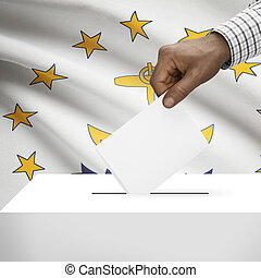 Ballot box with US state flag on background series - Rhode...