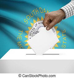 Ballot box with US state flag on background series - South...