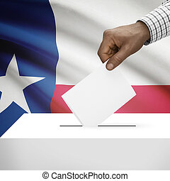 Ballot box with US state flag on background series - Texas -...
