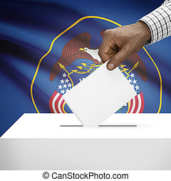 Ballot box with US state flag on background series - Utah -...