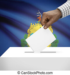 Ballot box with US state flag on background series - Vermont...