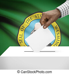 Ballot box with US state flag on background series -...