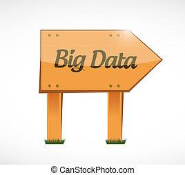 Big data wood sign concept illustration design over white