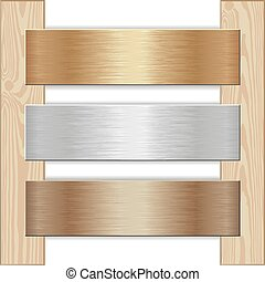 podium - golden, silver and bronze plaques nailed to wooden...