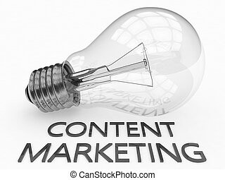 Content Marketing - lightbulb on white background with text...