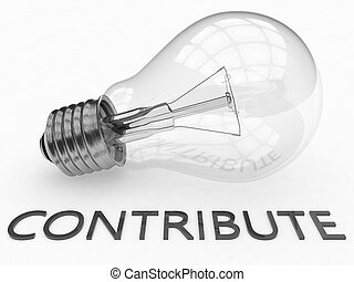 Contribute - lightbulb on white background with text under...