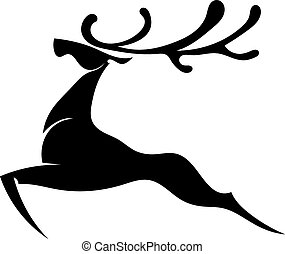 The black silhouette of a deer jumping with big horns...
