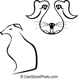 Set of dogs silhouette isolated on white background. Vector...