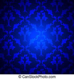 Royal Blue Damask - Royal Blue Dark Damask Background, Tile...