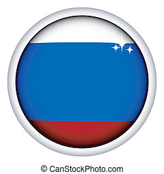 Russian flag button - Russian sphere flag button, isolated...