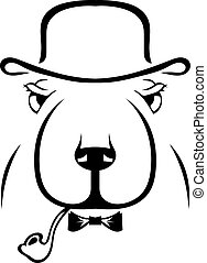 Silhouette of a dog in a hat and a pipe. Hipster. English style.