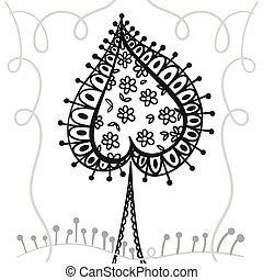 Hand drawing zentangle element with decorative frame....