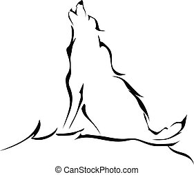 Silhouette of a wolf howling isolated on white background...