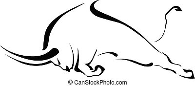 Silhouette of a bull in a fight in the profile on a white...