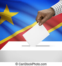 Ballot box with national flag on background series -...