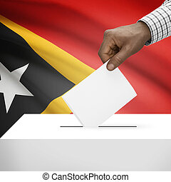 Ballot box with national flag on background series - East...