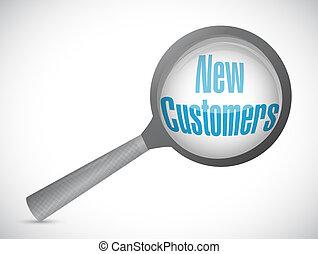 new customer magnify glass sign concept illustration design...