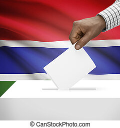 Ballot box with national flag on background series - Gambia...