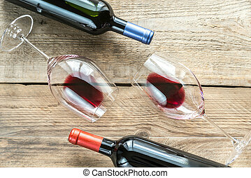 Glasses with red wine