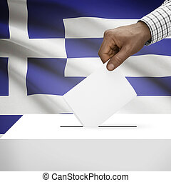 Ballot box with national flag on background series - Greece