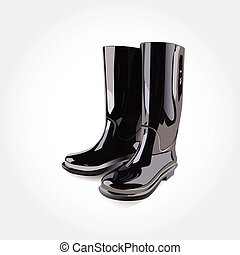 gumboots - black rubber boots on a white background