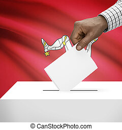 Ballot box with national flag on background series - Isle of Man