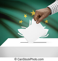 Ballot box with national flag on background series - Macau -...