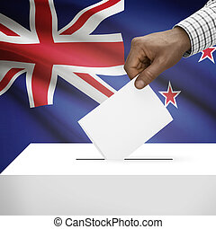 Ballot box with national flag on background series - New...