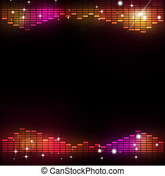 utjämnare, disko, musik, bakgrund, parti