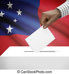 scheda elettorale, Scatola, con, nazionale, bandiera, su,...