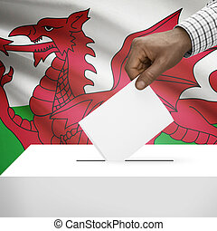 Ballot box with national flag on background series - Wales -...