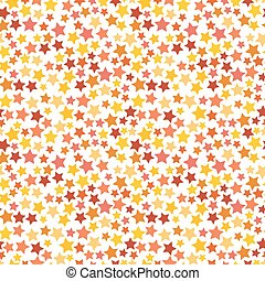 Red, yellow and orange stars on white seamless pattern