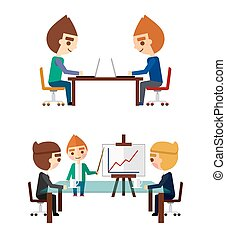 Business negotiations set Managers at work and the report on...