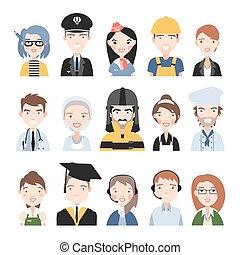 pessoas, de, diferente, professions.,