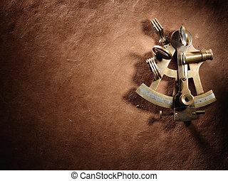 sextante, en, un, viejo, mapa,