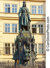 Statue of Charles IV in Prague, Czech Republic. - Statue of...