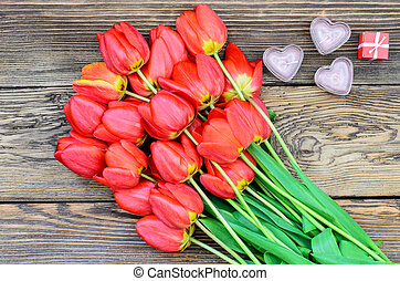 Tulips and a heart for a loved one - Bunch of fresh red...
