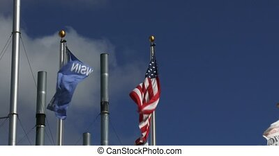 American and Wisconsin flag waving