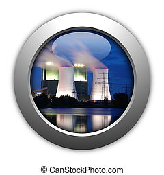industry button showing pollution or industrial production...