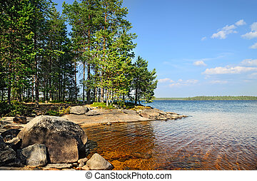 Lake Engozero, North Karelia, Russia - Karelian landscape...