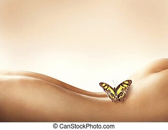 Sensitive and delicate body - Butterfly resting on a naked...